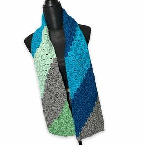 Hand Crocheted Cozy Scarf Blue Gray Green